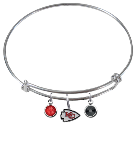 Kansas City Chiefs NFL Expandable Wire Bangle Charm Bracelet