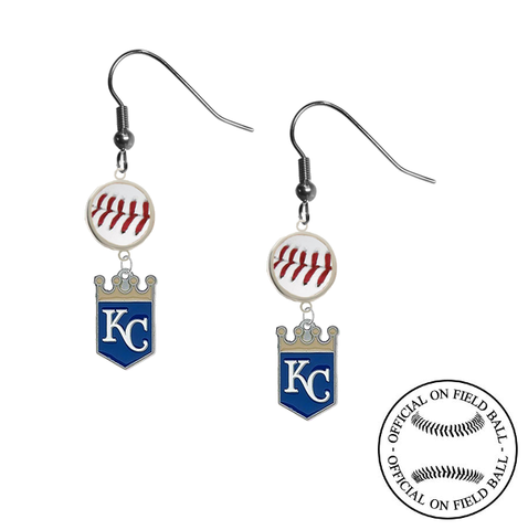 Kansas City Royals MLB Authentic Rawlings On Field Leather Baseball Dangle Earrings