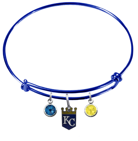 Kansas City Royals Blue MLB Expandable Wire Bangle Charm Bracelet