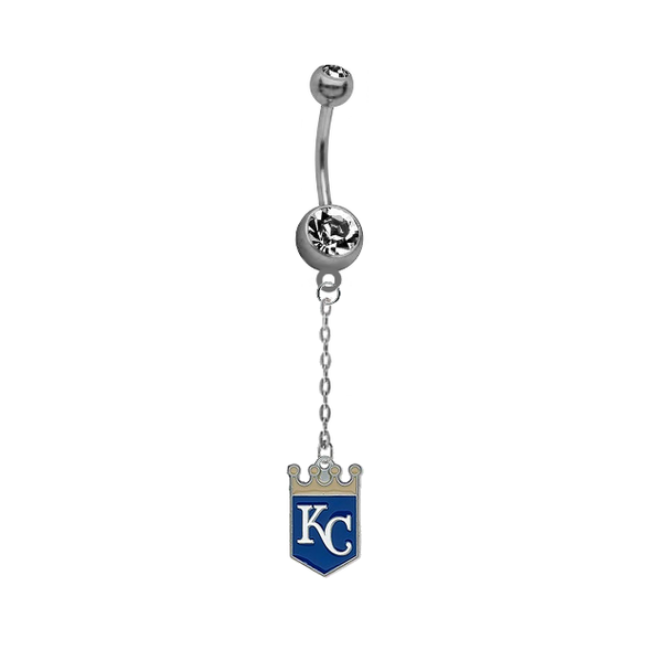 Kansas City Royals Dangle Chain Belly Button Navel Ring