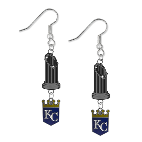 Kansas City Royals MLB World Series Trophy Dangle Earrings