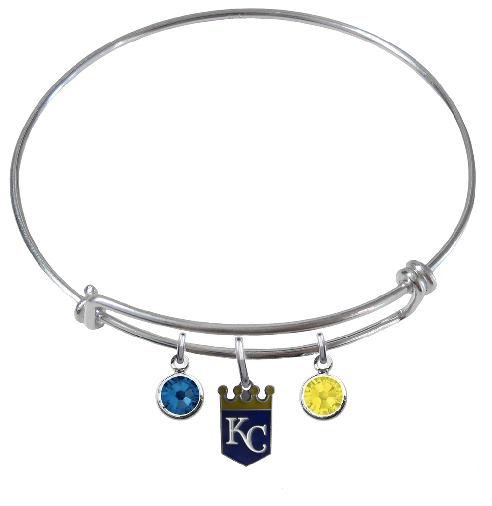 Kansas City Royals MLB Expandable Wire Bangle Charm Bracelet