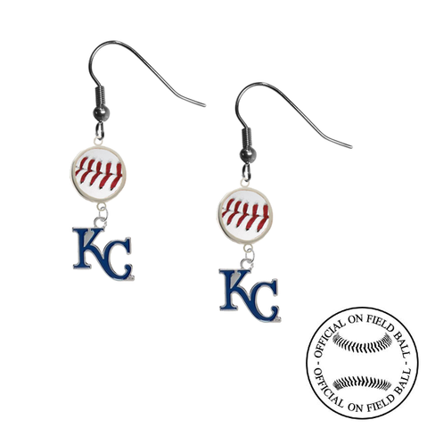 Kansas City Royals Style 2 MLB Authentic Rawlings On Field Leather Baseball Dangle Earrings