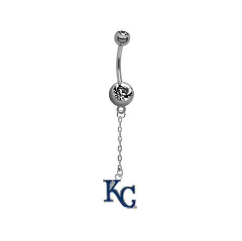 Kansas City Royals Style 2 Dangle Chain Belly Button Navel Ring
