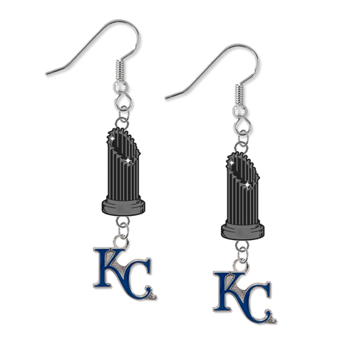Kansas City Royals Style 2 MLB World Series Trophy Dangle Earrings