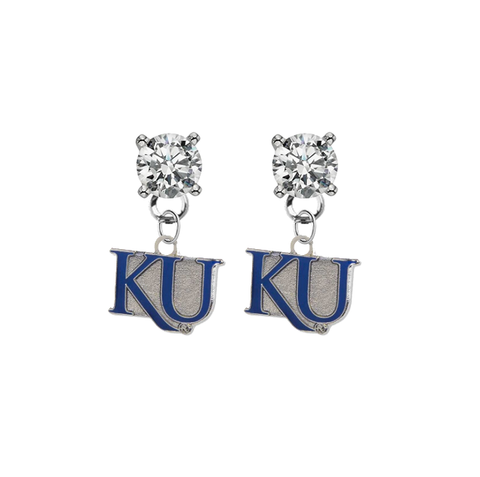 Kansas Jayhawks 2 CLEAR Swarovski Crystal Stud Rhinestone Earrings