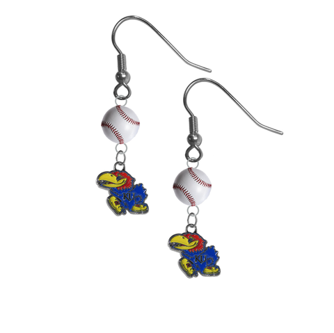 Kansas Jayhawks NCAA Baseball Dangle Earrings