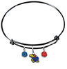 Kansas Jayhawks NCAA Black Expandable Wire Bangle Charm Bracelet