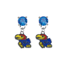 Kansas Jayhawks BLUE Swarovski Crystal Stud Rhinestone Earrings