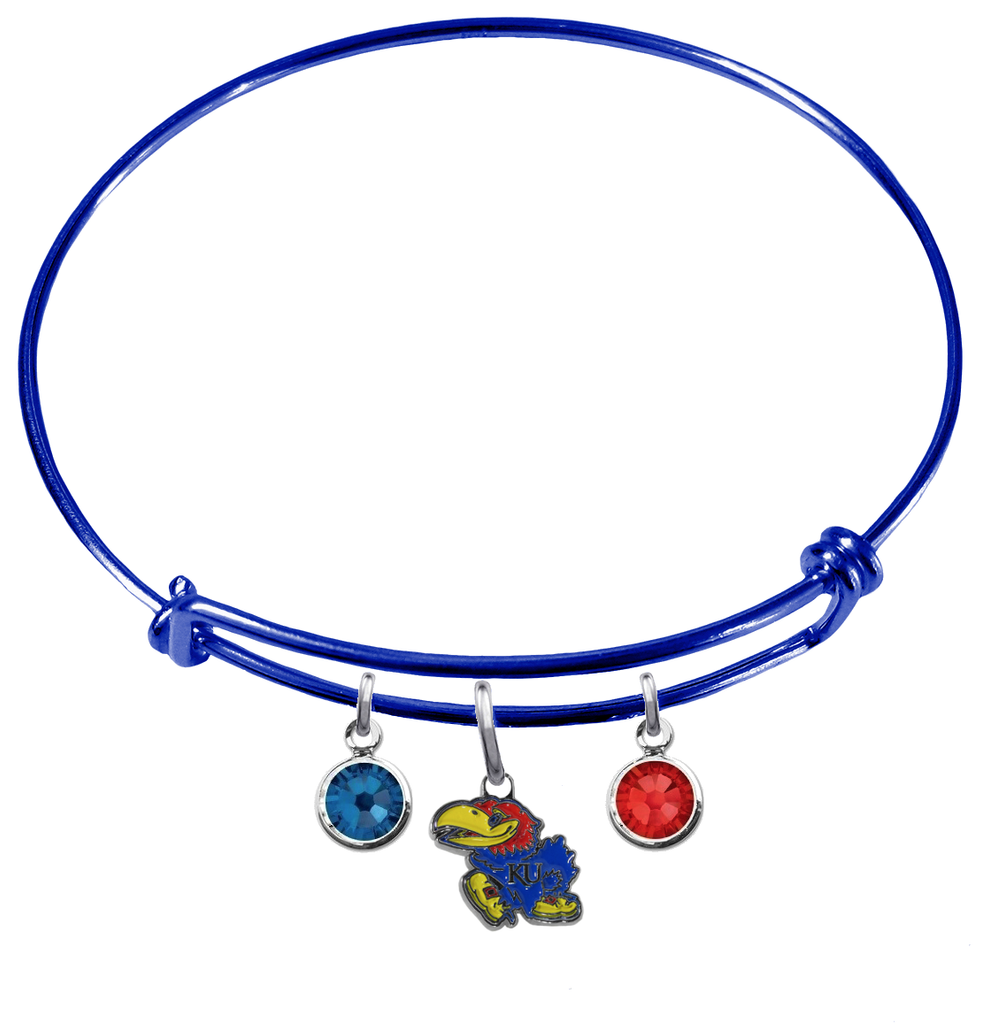 Kansas Jayhawks NCAA Blue Expandable Wire Bangle Charm Bracelet