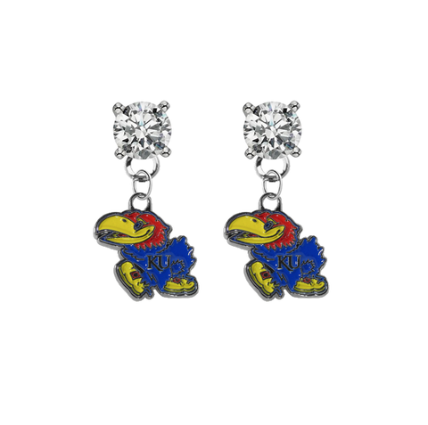 Kansas Jayhawks CLEAR Swarovski Crystal Stud Rhinestone Earrings