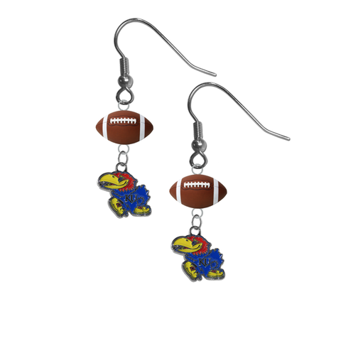 Kansas Jayhawks NCAA Football Dangle Earrings