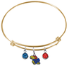 Kansas Jayhawks NCAA Gold Expandable Wire Bangle Charm Bracelet