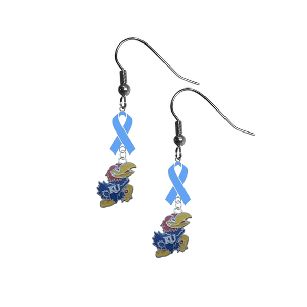 Kansas Jayhawks Prostate Cancer Awareness Light Blue Ribbon Dangle Earrings