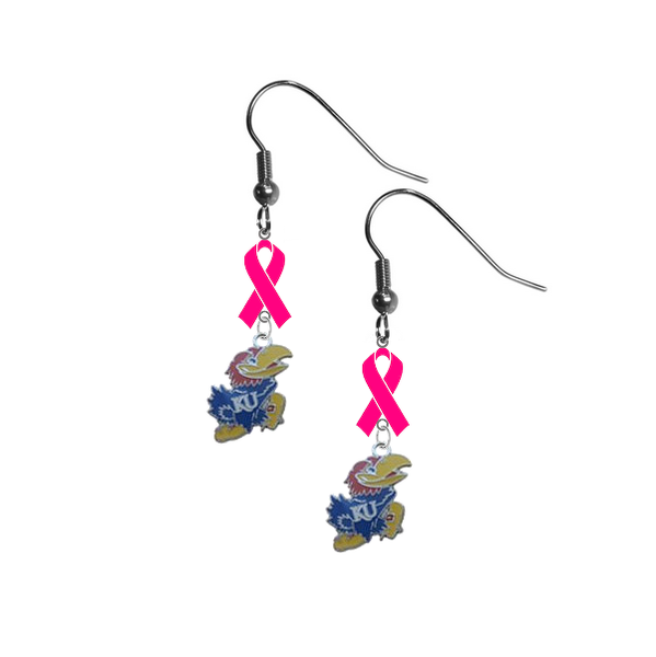 Kansas Jayhawks Breast Cancer Awareness Hot Pink Ribbon Dangle Earrings