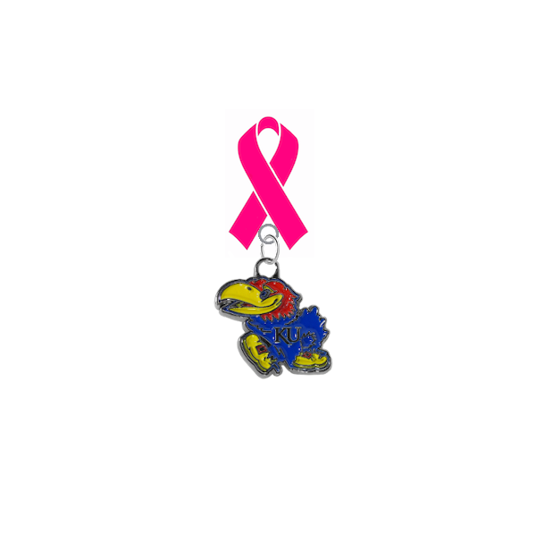 Kansas Jayhawks Breast Cancer Awareness / Mothers Day Pink Ribbon Lapel Pin