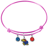 Kansas Jayhawks NCAA Pink Expandable Wire Bangle Charm Bracelet