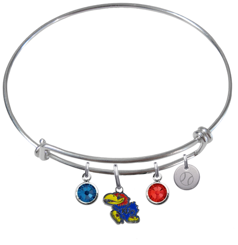 Kansas Jayhawks Baseball Expandable Wire Bangle Charm Bracelet