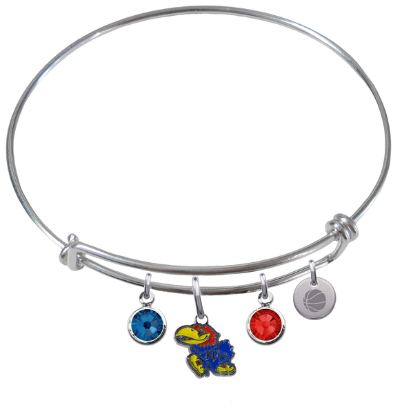 Kansas Jayhawks Basketball Expandable Wire Bangle Charm Bracelet