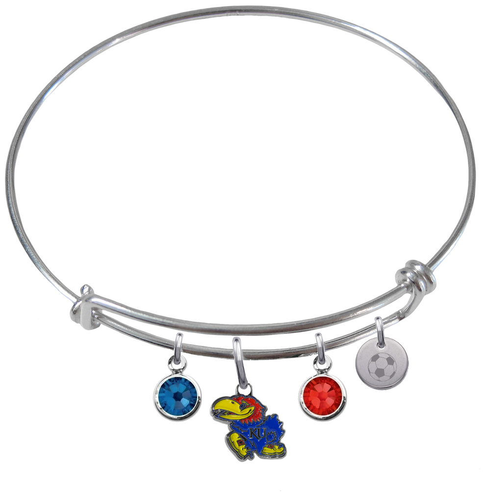 Kansas Jayhawks Soccer Expandable Wire Bangle Charm Bracelet