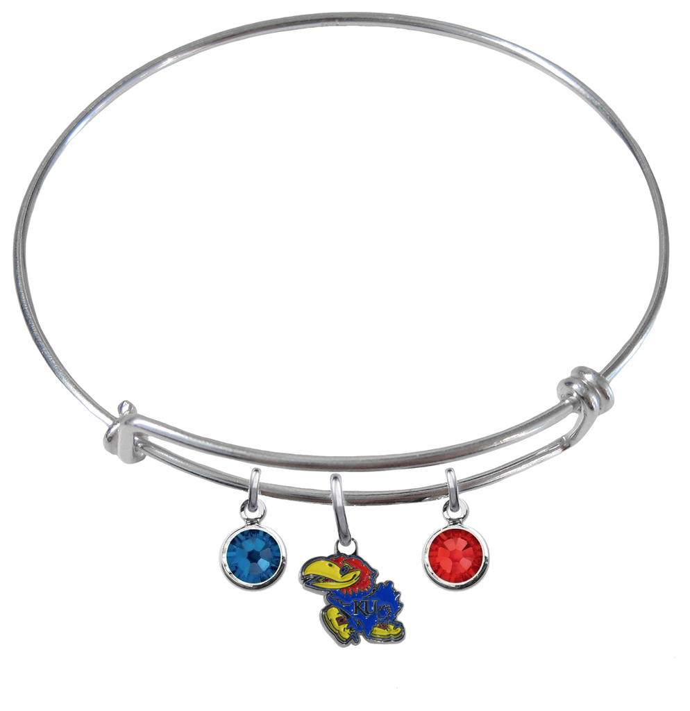Kansas Jayhawks NCAA Expandable Wire Bangle Charm Bracelet