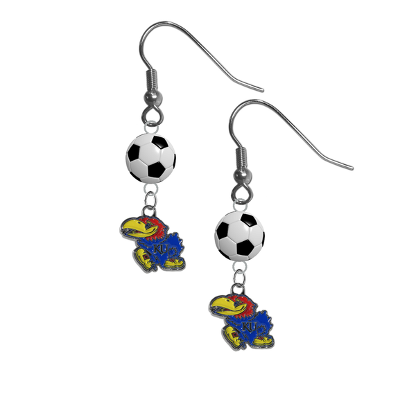 Kansas Jayhawks NCAA Soccer Dangle Earrings