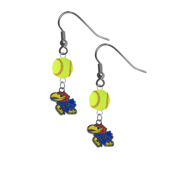 Kansas Jayhawks NCAA Fastpitch Softball Dangle Earrings