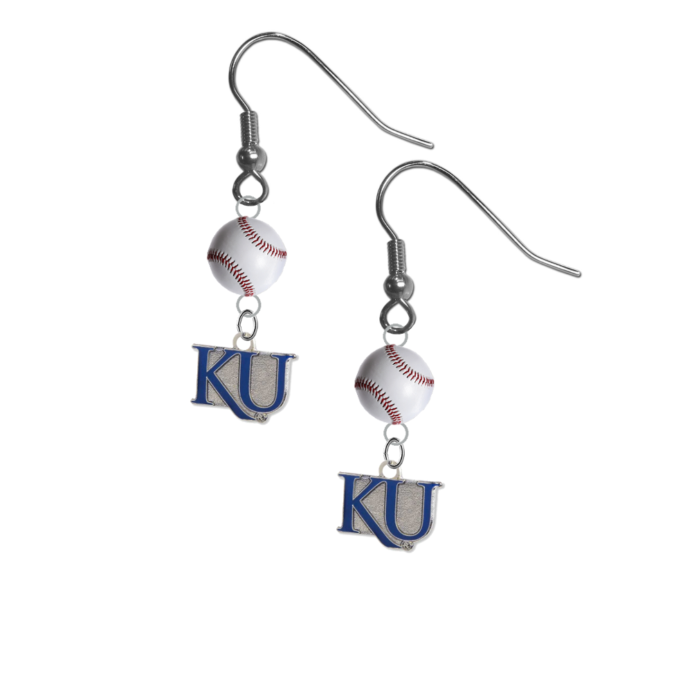 Kansas Jayhawks Style 2 NCAA Baseball Dangle Earrings