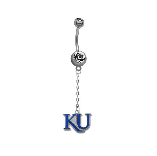 Kansas Jayhawks Style 2 Dangle Chain Belly Button Navel Ring