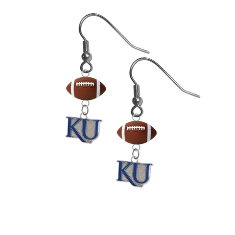 Kansas Jayhawks Style 2 NCAA Football Dangle Earrings