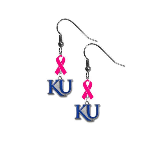 Kansas Jayhawks Style 2 Breast Cancer Awareness Hot Pink Ribbon Dangle Earrings