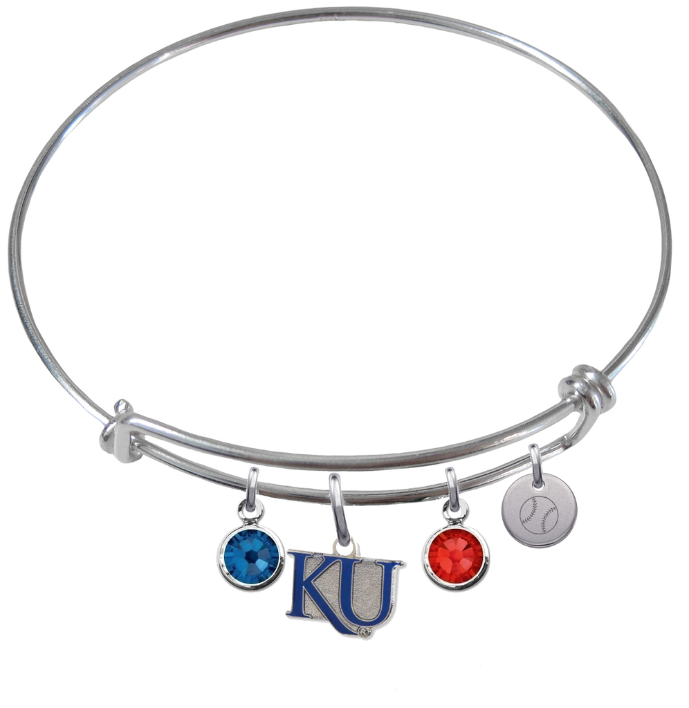 Kansas Jayhawks Style 2 Baseball Expandable Wire Bangle Charm Bracelet