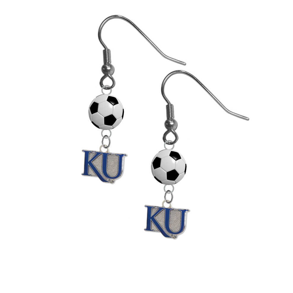 Kansas Jayhawks Style 2 NCAA Soccer Dangle Earrings