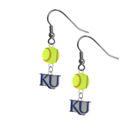 Kansas Jayhawks Style 2 NCAA Fastpitch Softball Dangle Earrings