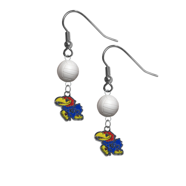 Kansas Jayhawks NCAA Volleyball Dangle Earrings