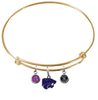 Kansas State Wildcats NCAA Gold Expandable Wire Bangle Charm Bracelet