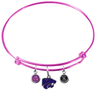 Kansas State Wildcats NCAA Pink Expandable Wire Bangle Charm Bracelet