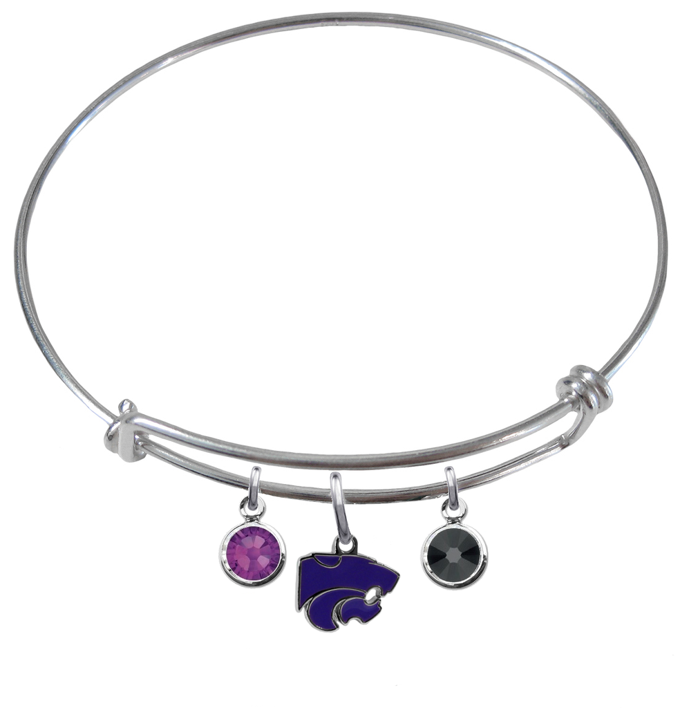 Kansas State Wildcats NCAA Expandable Wire Bangle Charm Bracelet