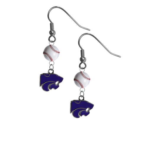 Kansas State Wildcats NCAA Baseball Dangle Earrings