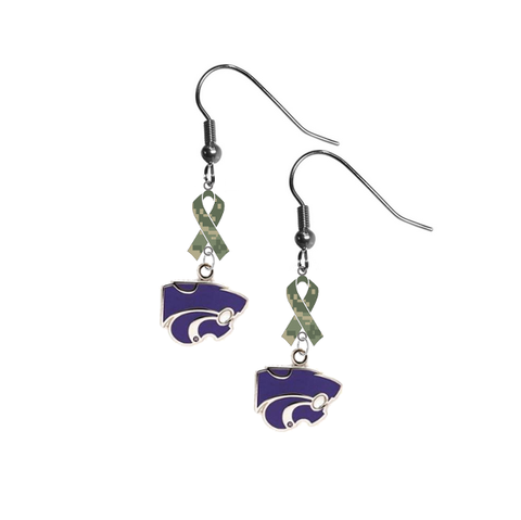 Kansas State Wildcats Salute to Service Camouflage Camo Ribbon Dangle Earrings