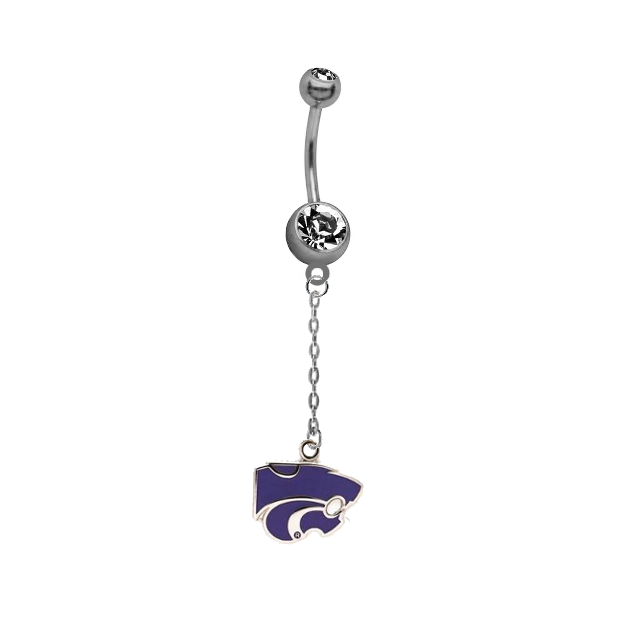 Kansas State Wildcats Dangle Chain Belly Button Navel Ring