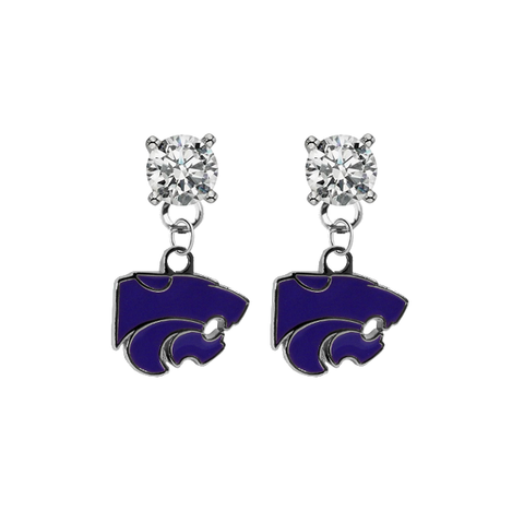 Kansas State Earrings CLEAR Swarovski Crystal Stud Rhinestone Earrings