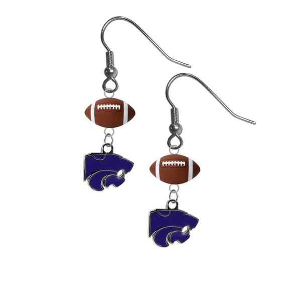 Kansas State Wildcats NCAA Football Dangle Earrings