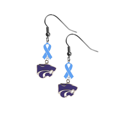 Kansas State Wildcats Prostate Cancer Awareness Light Blue Ribbon Dangle Earrings