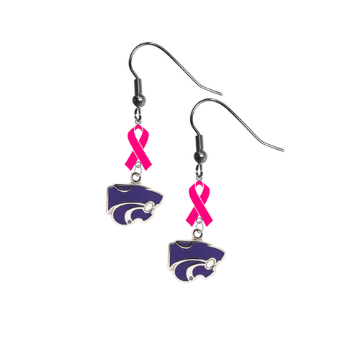 Kansas State Wildcats Breast Cancer Awareness Hot Pink Ribbon Dangle Earrings