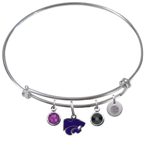 Kansas State Wildcats Basketball Expandable Wire Bangle Charm Bracelet