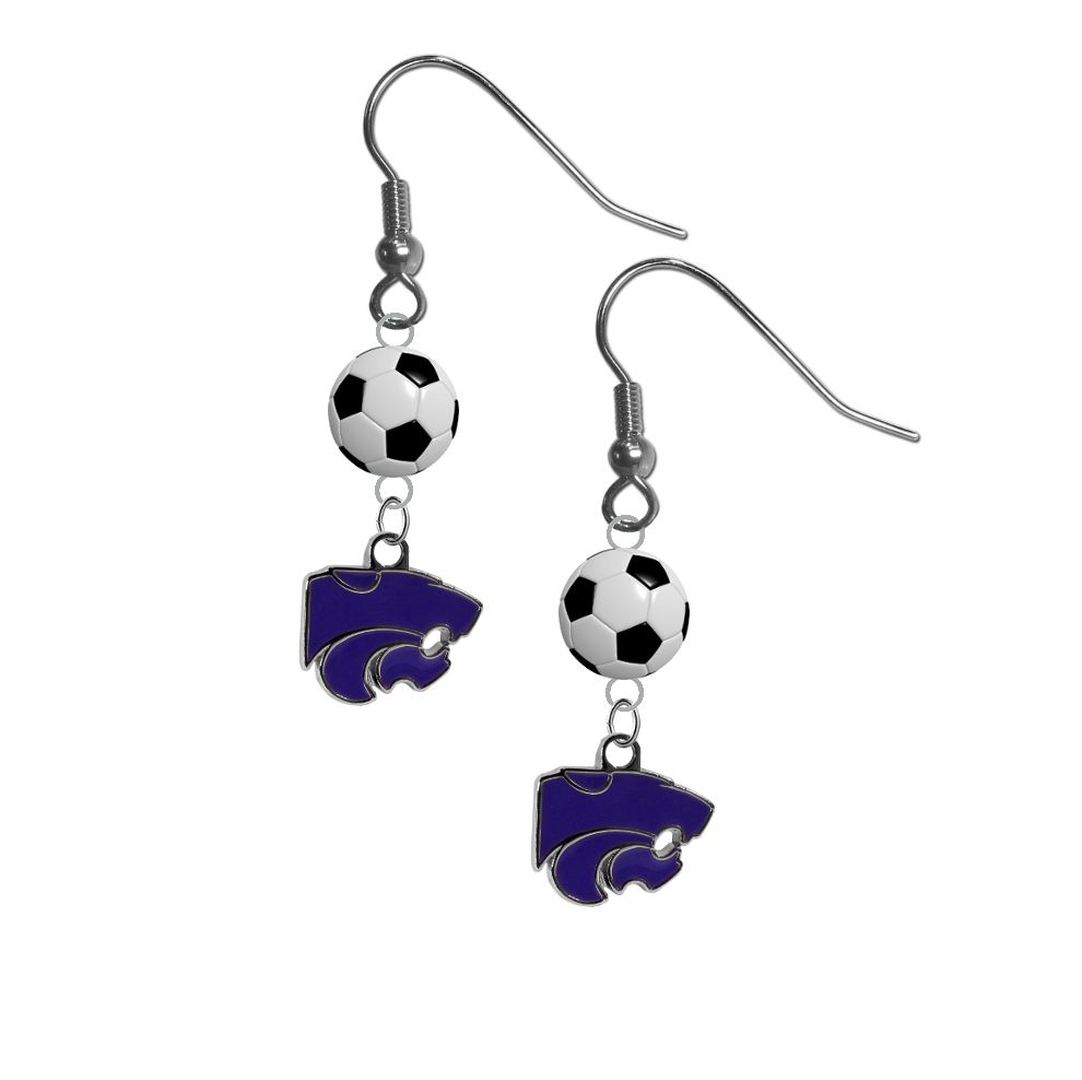 Kansas State Wildcats NCAA Soccer Dangle Earrings
