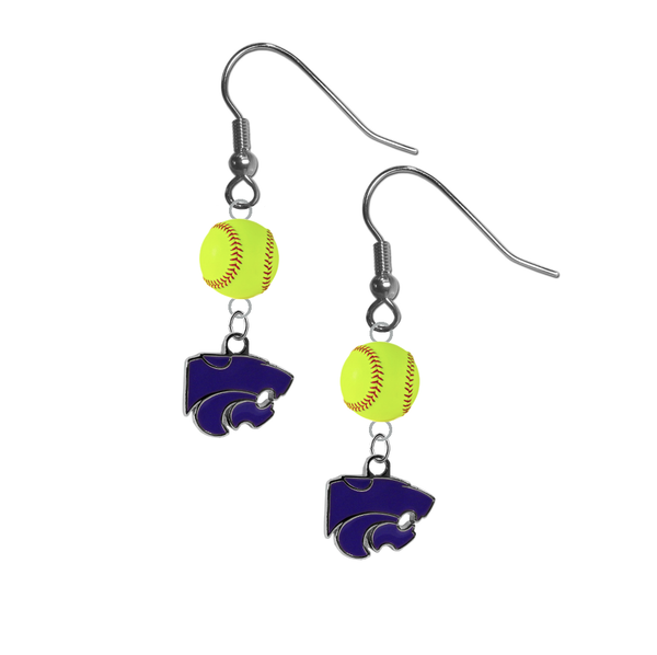 Kansas State Wildcats NCAA Fastpitch Softball Dangle Earrings