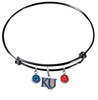 Kansas Jayhawks Style 2 NCAA Black Expandable Wire Bangle Charm Bracelet