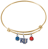 Kansas Jayhawks Style 2 NCAA Gold Expandable Wire Bangle Charm Bracelet